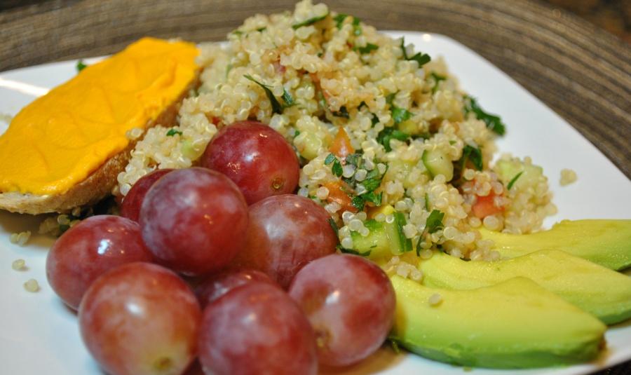 Quinoa Tabbouleh: http://vedgedout.com/2012/09/25/simplest-quinoa-tabbouleh-salad/