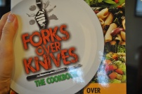 Forks Over Knives Cookbook: http://www.amazon.com/Forks-Over-Knives-Cookbook-Plant-Based/dp/1615190619/ref=sr_1_1?ie=UTF8&qid=1368043207&sr=8-1&keywords=forks+over+knives