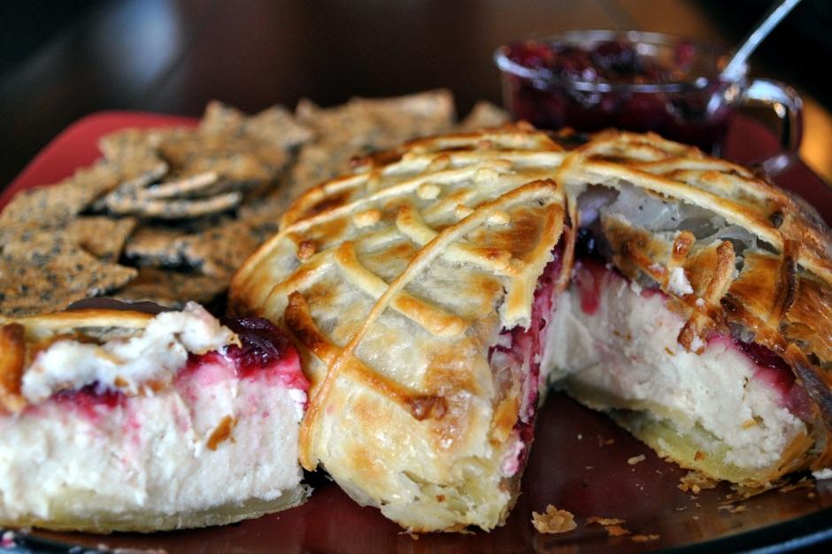 Macadamia Nut Brie En Croute: http://vedgedout.com/2012/10/31/virtual-vegan-potluck-spooky-vegan-macadamia-nut-brie-en-croute/