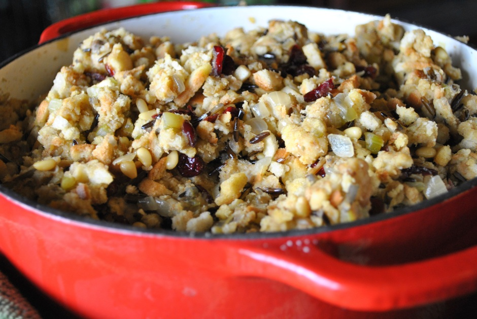 Dad's Holiday Stuffing: http://vedgedout.com/2012/11/19/vedged-out-thanksgiving-menu/