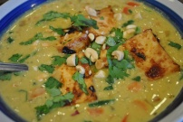Creamy Satay Soup with Tasty Baked Tofu: https://vedgedout.com/2012/12/30/creamy-satay-soup-with-tasty-baked-tofu/