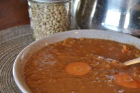 Abe's Hearty Lentil Soup: https://vedgedout.com/2013/01/13/vedged-out-2013-green-smoothie-challenge-day-7/