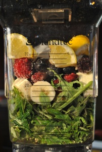 Razzleberry Lemonade Green Smoothie: https://vedgedout.com/2013/01/07/vedged-out-2013-green-smoothie-challenge-day-1/