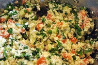 Cauliflower or Parsnip Tabbouleh: https://vedgedout.com/2013/01/10/vedged-out-2013-green-smoothie-challenge-day-4/