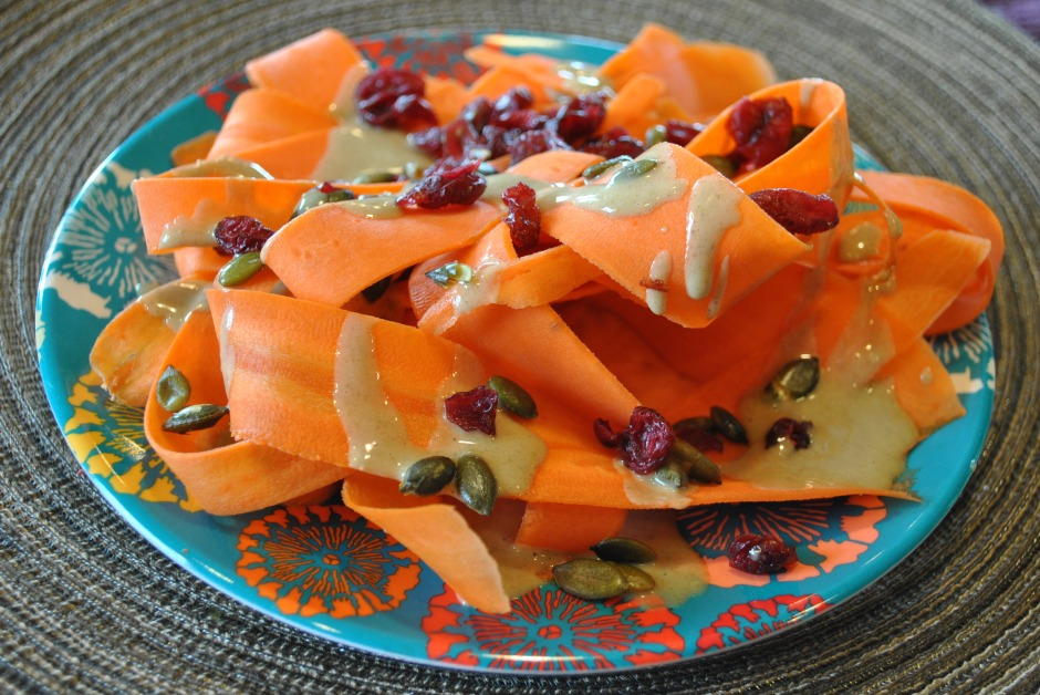 Pepita Maple Butter Dressing with Carrot Ribbon Salad: http://vedgedout.com/2013/02/25/pepita-maple-butter-salad-dressing-with-carrot-ribbon-salad/