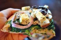 Heart Healthy Pizza's Spanakopizza: https://vedgedout.com/2013/04/03/heart-healthy-pizza-review-recipes-interview-giveaway/
