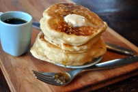 Fluffiest Maple Buttermilk Pancakes: https://vedgedout.com/2013/05/06/fluffiest-maple-buttermilk-pancakes/
