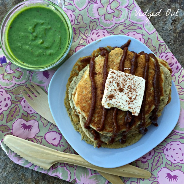 Fluffy Pancakes with Gingerbread Pecan Butter and Mojito Smoothie